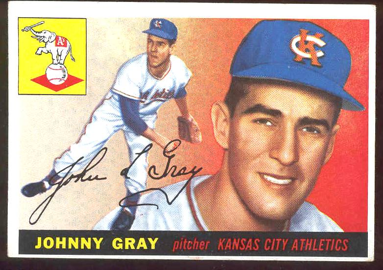 1955 Topps #101 Johnny Gray (Kansas City A's) Baseball cards value