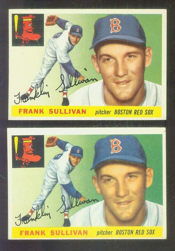 1955 Topps #106A Frank Sullivan [Dotted 'i' variation] (Red Sox) Baseball cards value