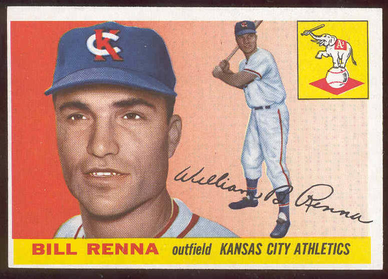 1955 Topps #121 Bill Renna (Kansas City A's) Baseball cards value