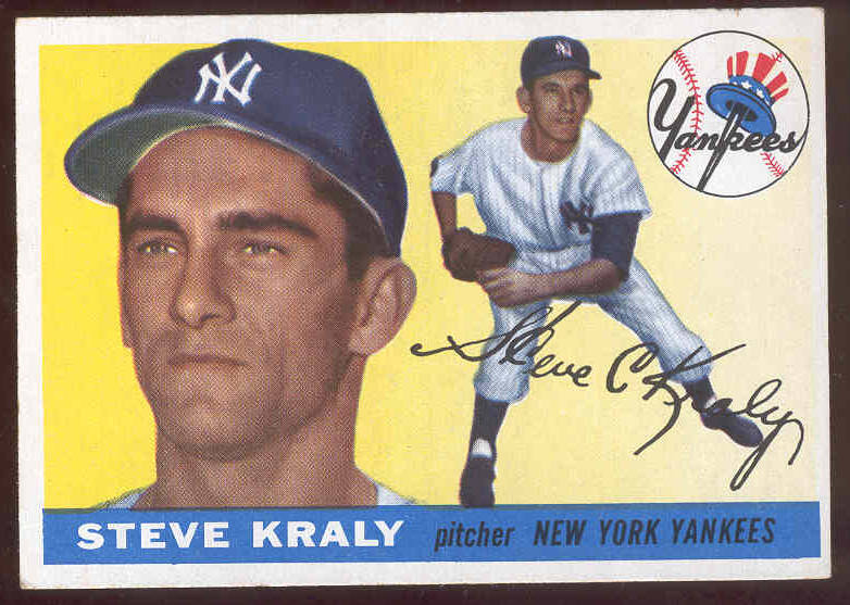 1955 Topps #139 Steve Kraly (Yankees) Baseball cards value