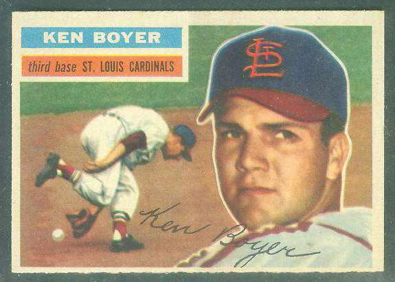 1956 Topps #.14 Ken Boyer [#a] (white back) (2nd year card) (Cardinals) Baseball cards value