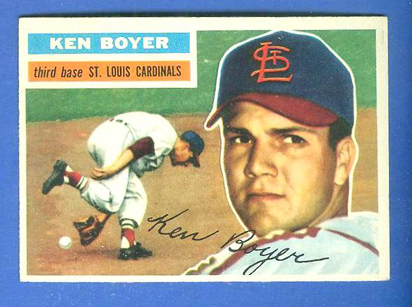 1956 Topps #.14 Ken Boyer [#b] (gray back) (2nd year card) (Cardinals) Baseball cards value
