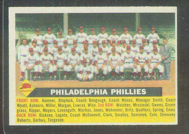1956 Topps #.72 Phillies TEAM card - Name centered variation [#a] Baseball cards value