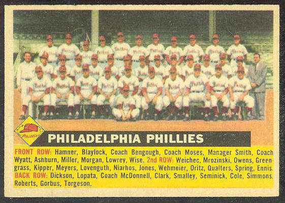 1956 Topps #.72 Phillies TEAM card - Name on left variation [#b] Baseball cards value