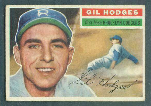 1956 Topps #145 Gil Hodges [#a] (Dodgers) Baseball cards value