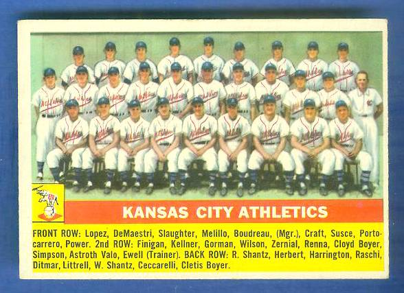 1956 Topps #236 Kansas City Athletics TEAM card [#a] (A's) Baseball cards value