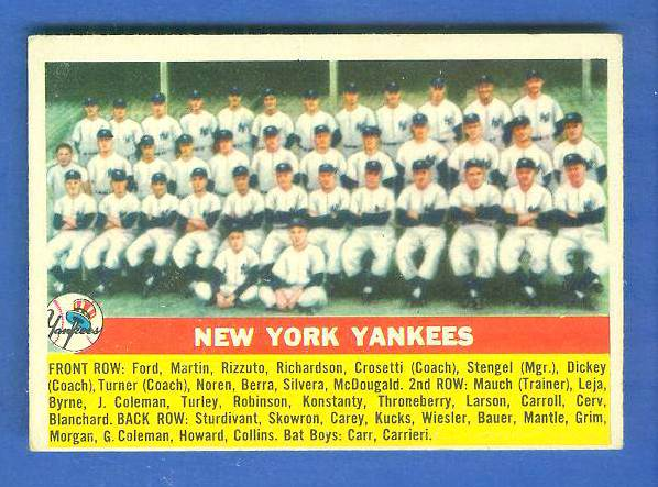 1956 Topps #251 Yankees TEAM card [#a] UER Baseball cards value