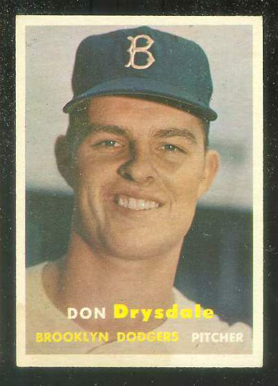 1957 Topps #.18 Don Drysdale ROOKIE (Brooklyn Dodgers) Baseball cards value