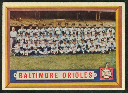 1957 Topps #251 Orioles TEAM card [#a] Baseball cards value