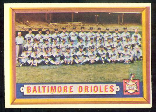1957 Topps #251 Orioles TEAM card [#b] Baseball cards value
