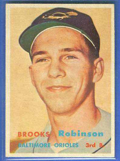 1957 Topps #328 Brooks Robinson ROOKIE SCARCE MID SERIES (Orioles) Baseball cards value