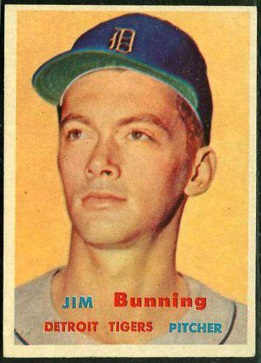 1957 Topps #338 Jim Bunning ROOKIE SCARCE MID SERIES (Tigers) Baseball cards value