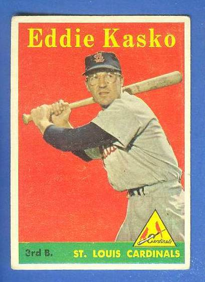 1958 Topps #..8B Eddie Kasko SCARCE YELLOW LETTER VARIATION (Cardinals) Baseball cards value