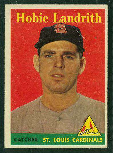 1958 Topps #.24B Hobie Landrith SCARCE YELLOW LETTER VARIATION (Cardinals) Baseball cards value