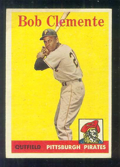 1958 Topps #.52A Roberto Clemente WHITE LETTER VARIATION (Pirates) Baseball cards value