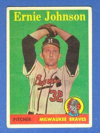 1958 Topps #.78B Ernie Johnson SCARCE YELLOW LETTER VARIATION (Braves) Baseball cards value