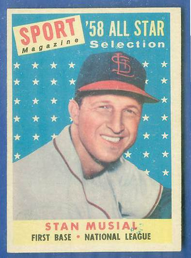 1958 Topps #476 Stan Musial All-Star [#a] (Cardinals) Baseball cards value