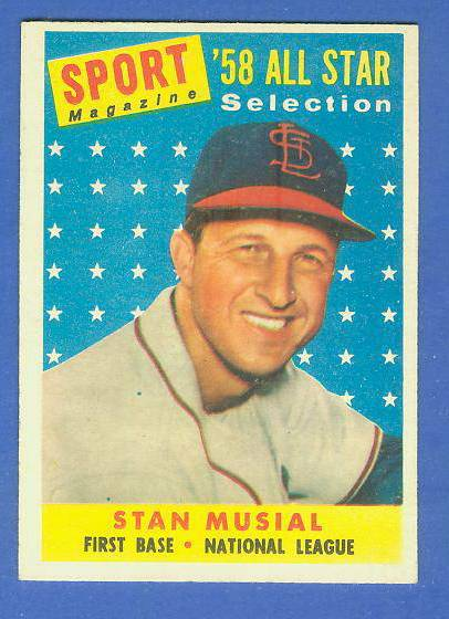 1958 Topps #476 Stan Musial All-Star [#b] (Cardinals) Baseball cards value