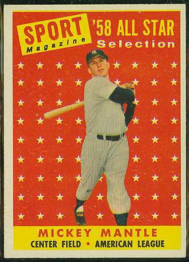1958 Topps #487 Mickey Mantle All-Star [#a] (Yankees) Baseball cards value