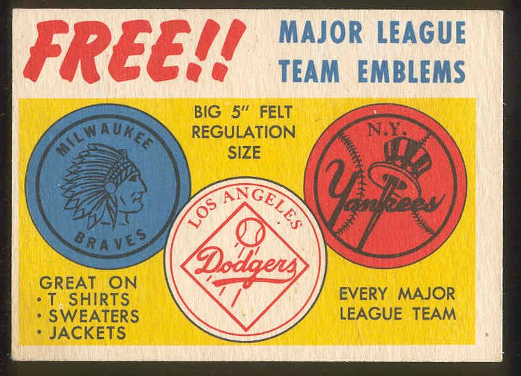 1958 Topps  #AD Team Emblems Advertising card [#a] Baseball cards value