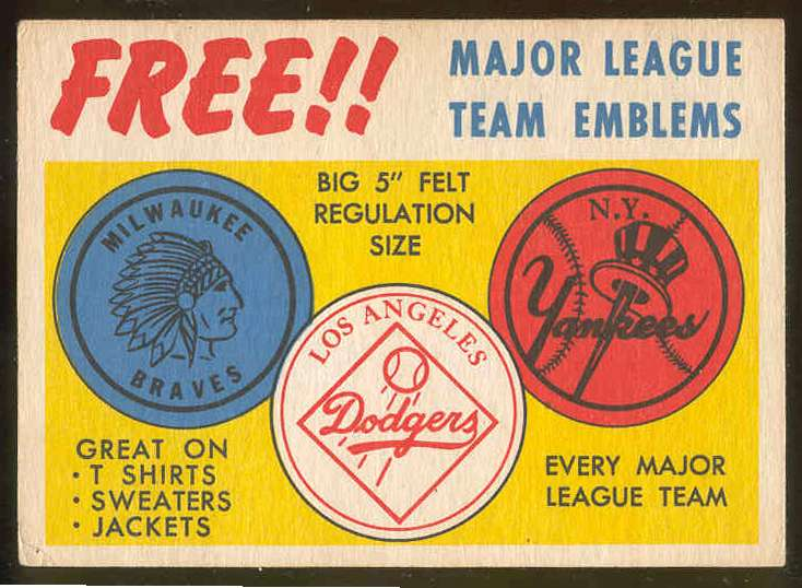 1958 Topps  #AD Team Emblems Advertising card [#c] Baseball cards value