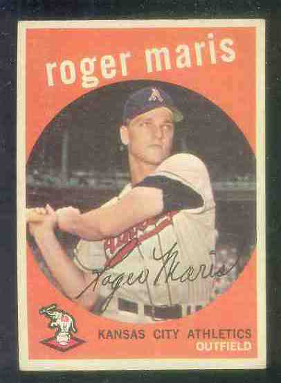 1959 Topps #202 Roger Maris (2nd year card) [#a] (Kansas City A's) Baseball cards value