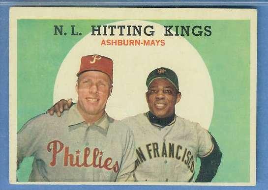 1959 Topps #317 'NL Hitting Kings' [#b] (Willie Mays/Richie Ashburn) Baseball cards value