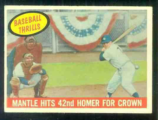 1959 Topps #461 Mickey Mantle 'Baseball Thrills' [#a] (Yankees) Baseball cards value