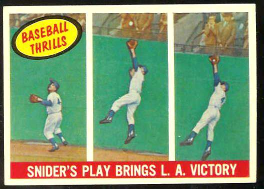 1959 Topps #468 Duke Snider 'Baseball Thrills' [#a] (Dodgers) Baseball cards value