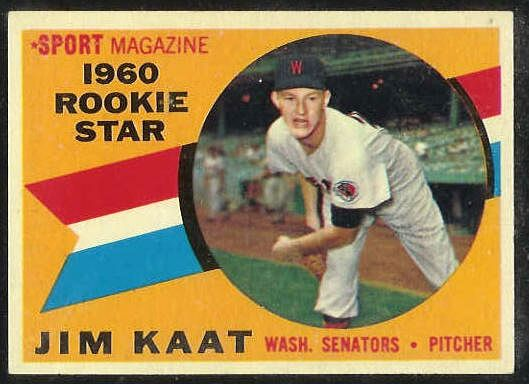 1960 Topps #136 Jim Kaat ROOKIE [#a] (Senators) Baseball cards value