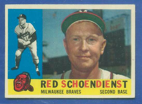 1960 Topps #335 Red Schoendienst [#b] (Braves) Baseball cards value