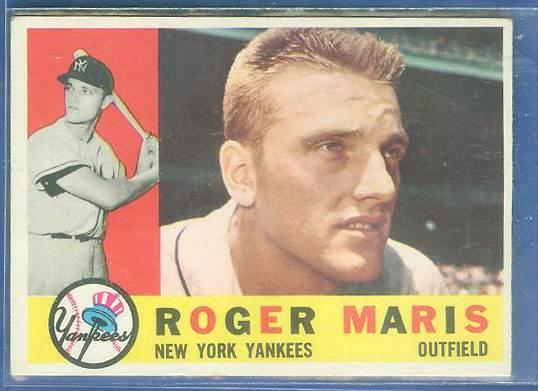 1960 Topps #377 Roger Maris (Yankees) Baseball cards value