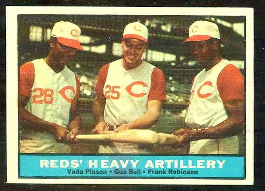 1961 Topps #.25 Reds Heavy Artillery [#c] (w/Vada Pinson/Frank Robinson) Baseball cards value