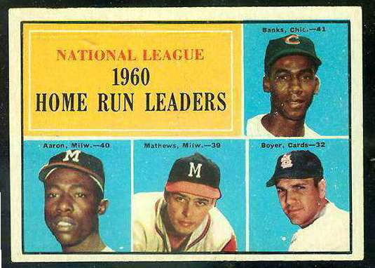 1961 Topps #.43 N.L. Home Run Leaders [#a] (Ernie Banks/Hank Aaron) Baseball cards value