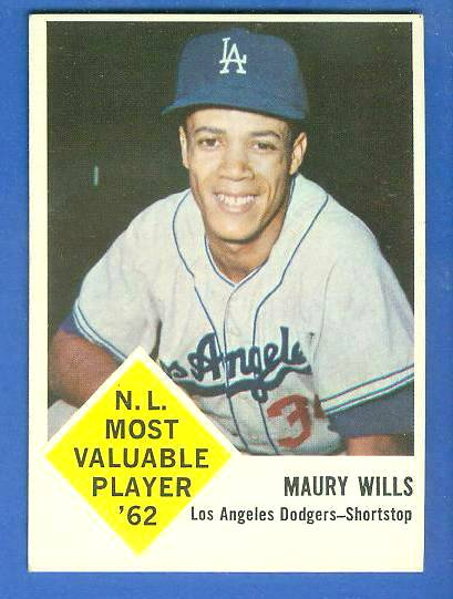 1963 Fleer #43 Maury Wills ROOKIE (Dodgers) Baseball cards value