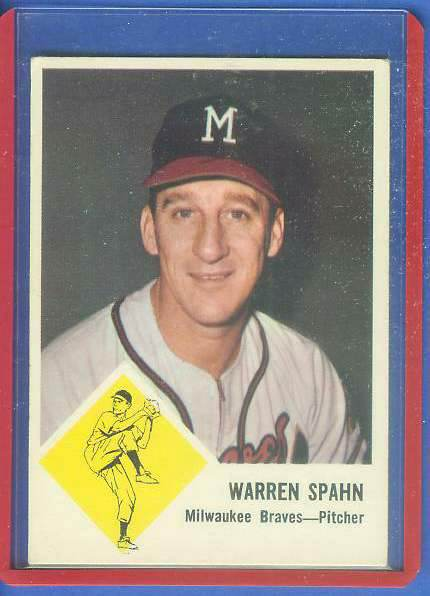 1963 Fleer #45 Warren Spahn [#c] (Braves) Baseball cards value