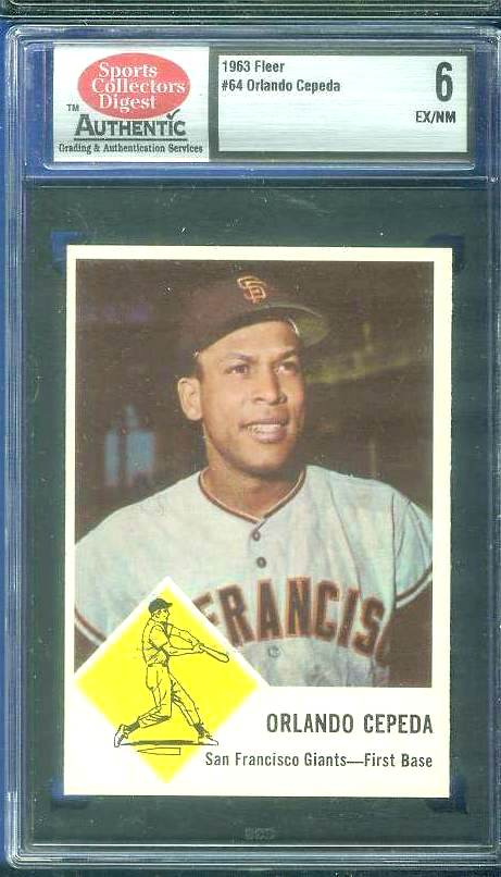 1963 Fleer #64 Orlando Cepeda (Giants) Baseball cards value