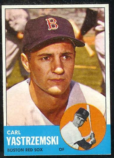 1963 Topps #115 Carl Yastrzemski [#a] (Red Sox) Baseball cards value