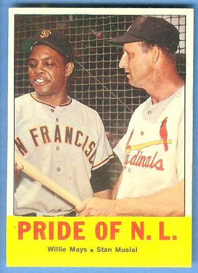 1963 Topps #138 'Pride of NL' (Willie Mays,Stan Musial) [#a] Baseball cards value