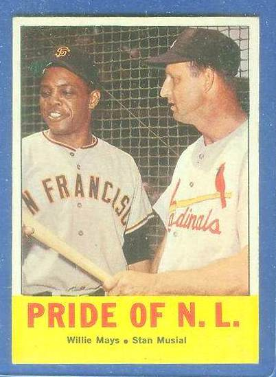 1963 Topps #138 'Pride of NL' (Willie Mays,Stan Musial) [#b] Baseball cards value
