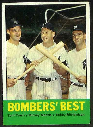 1963 Topps #173 'Bombers' Best' with MICKEY MANTLE [#c] (Yankees) Baseball cards value
