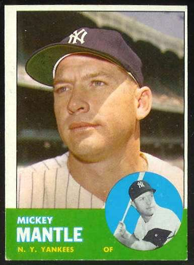 1963 Topps #200 MICKEY MANTLE [#b] (Yankees) Baseball cards value