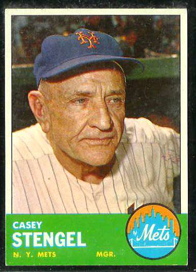 1963 Topps #233 Casey Stengel MGR [#a] (Mets) Baseball cards value