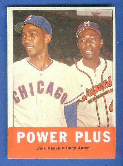 1963 Topps #242 'Power Plus' (Hank Aaron/Ernie Banks) [#a] (Braves/Cubs) Baseball cards value
