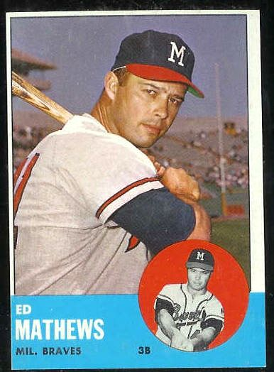 1963 Topps #275 Ed Mathews [#b] (Braves) Baseball cards value