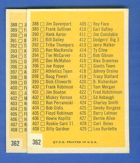 1963 Topps #362 Checklist -  5th Series (8x6 mm box) Baseball cards value