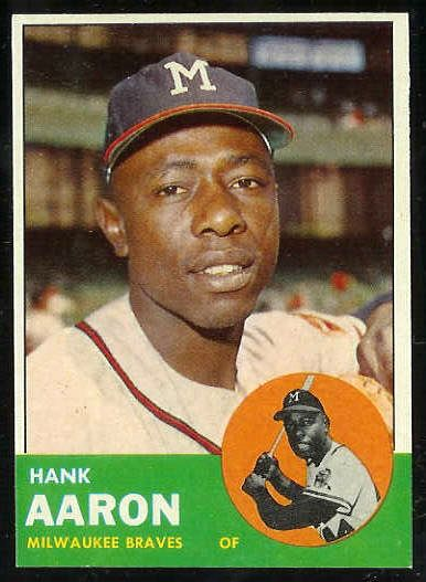 1963 Topps #390 Hank Aaron [#b] (Braves) Baseball cards value