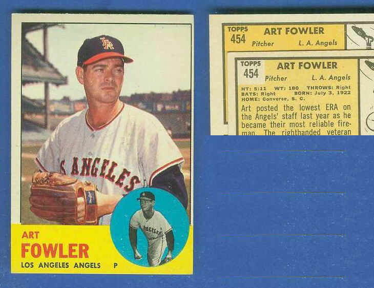 1963 Topps #454 Art Fowler [VAR:Card# on ORANGE] [#a] SCARCEST MID SERIES Baseball cards value