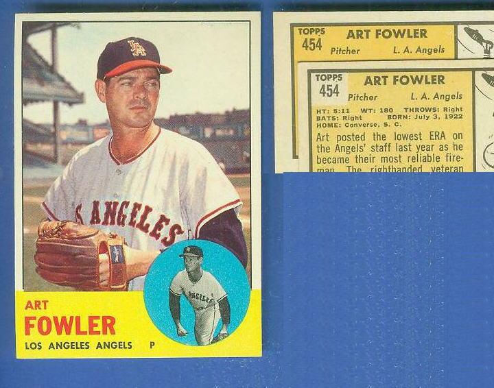 1963 Topps #454 Art Fowler [VAR:Card# on ORANGE] [#b] SCARCEST MID SERIES Baseball cards value