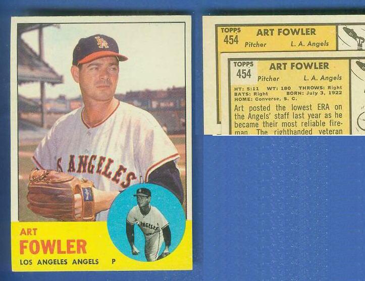 1963 Topps #454 Art Fowler [VAR:Card# on ORANGE] [#c] SCARCEST MID SERIES Baseball cards value